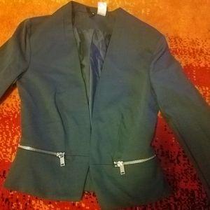 💕H&M Forest Green Blazer Zipper Detail!